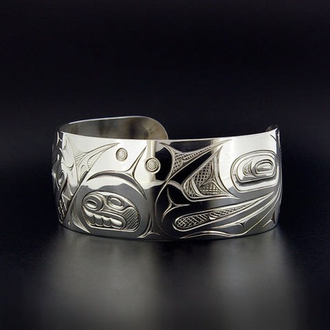 Killerwhale and Salmon - Sterling Silver Bracelet