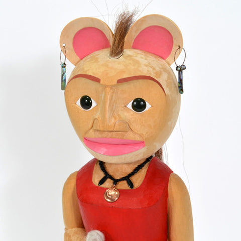 Mouse Woman - Yellow Cedar Sculpture