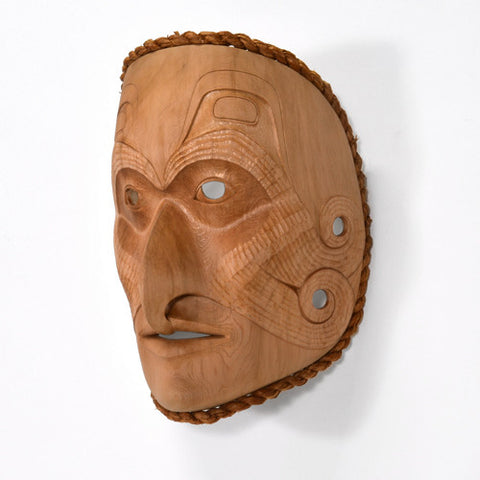 Shaman and His Helper - Red Cedar Mask with Cedar Bark