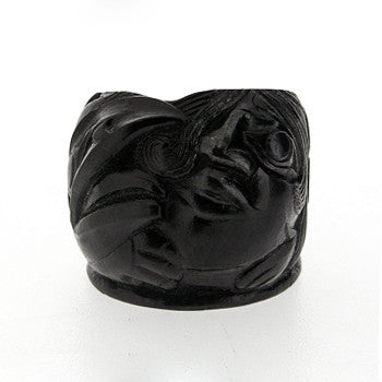 Shaman Woman Talking to Raven - Argillite Ring