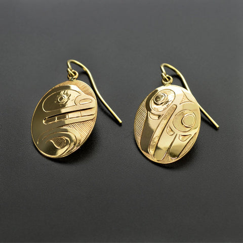 Bear and Raven - 14k Gold Earrings