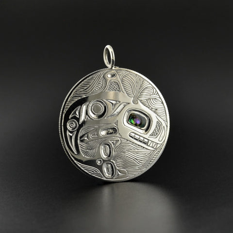 Killerwhale  - Sterling Silver Pendant with Abalone Inlay