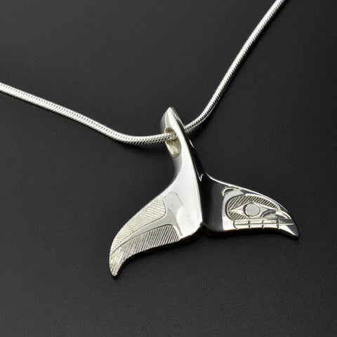 Whale Tail - Silver Pendant