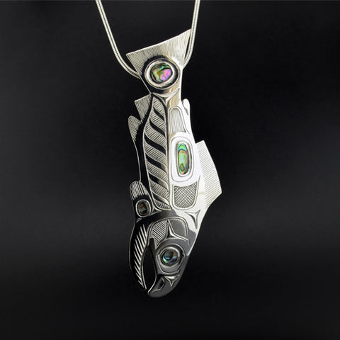 Salmon - Sterling Silver Pin/Pendant