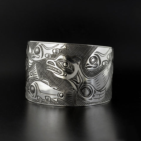 Sea Lions and Salmon - Silver Bracelet