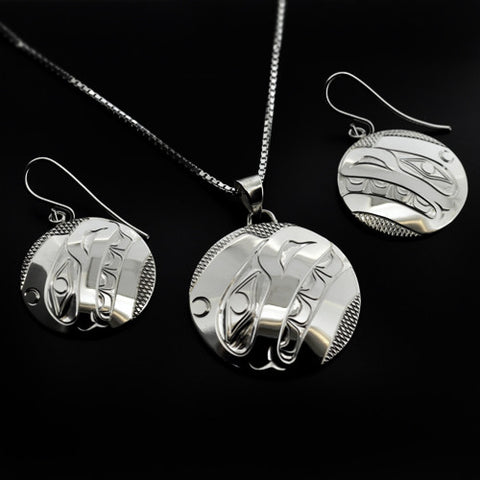 Whale - Silver Pendant and Earrings Set