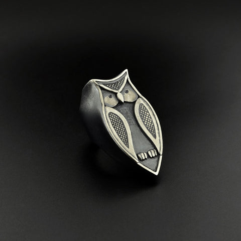 Owl - Oxidized Silver Ring
