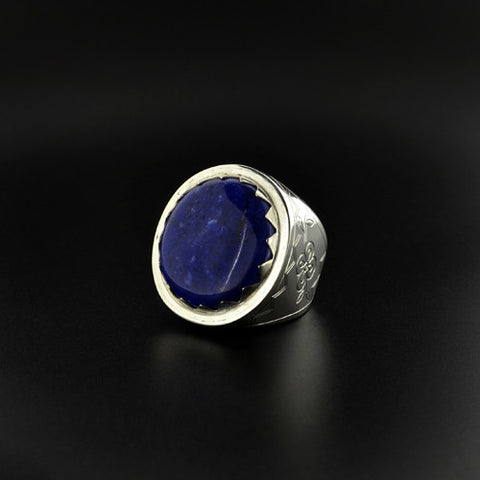 Floral - Silver Ring with Lapis