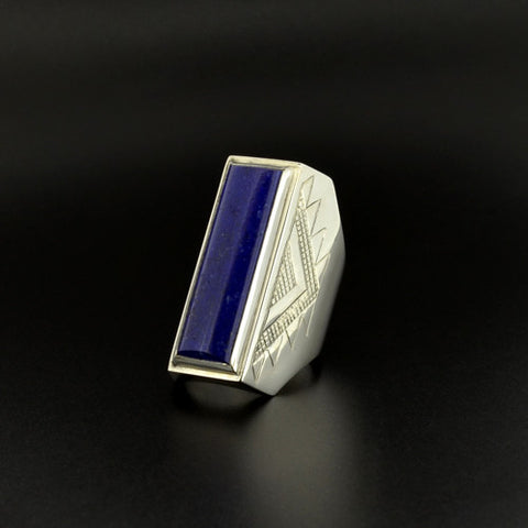 Beadwork - Silver Ring with Lapis