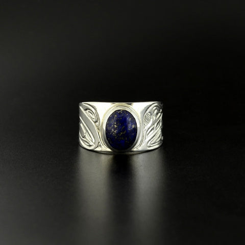Thunderbird and Whale - Silver Ring with Lapis