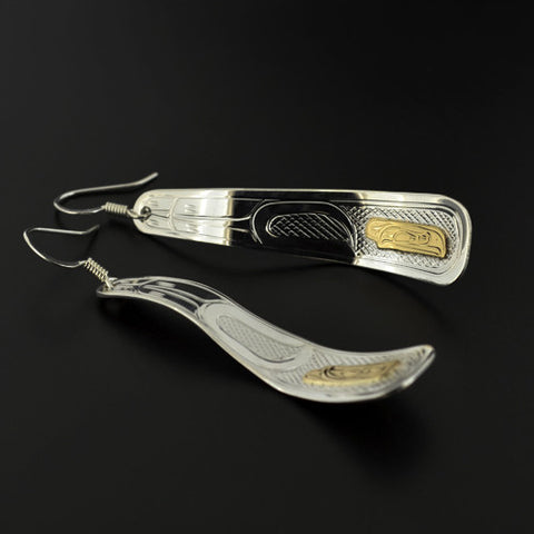 Raven - Silver Earrings with 14k Gold