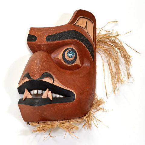 The Grizz Who Looked Back at Me - Red Cedar Mask