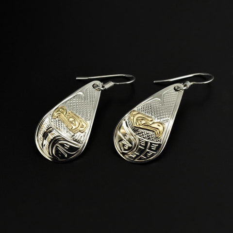 Eagle - Silver Earrings with 14k Gold