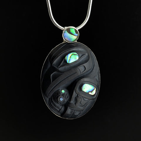 Raven and Human - Argillite Pendant with Silver Bezel