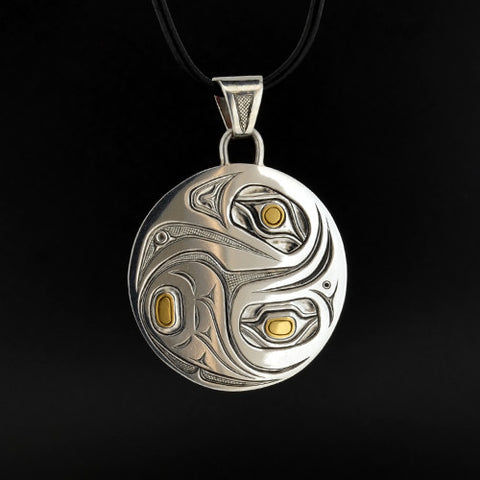 Raven and Eagle - Silver Pendant