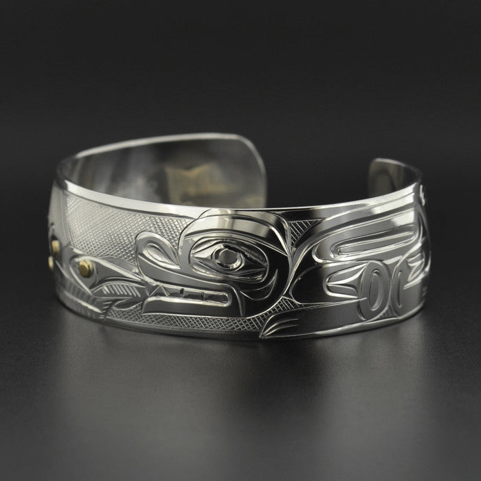 Bear, Salmon, Trees - Silver Bracelet with 14k Gold