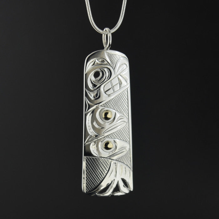 Bear, Salmon, Trees - Silver Pendant with 14k Gold