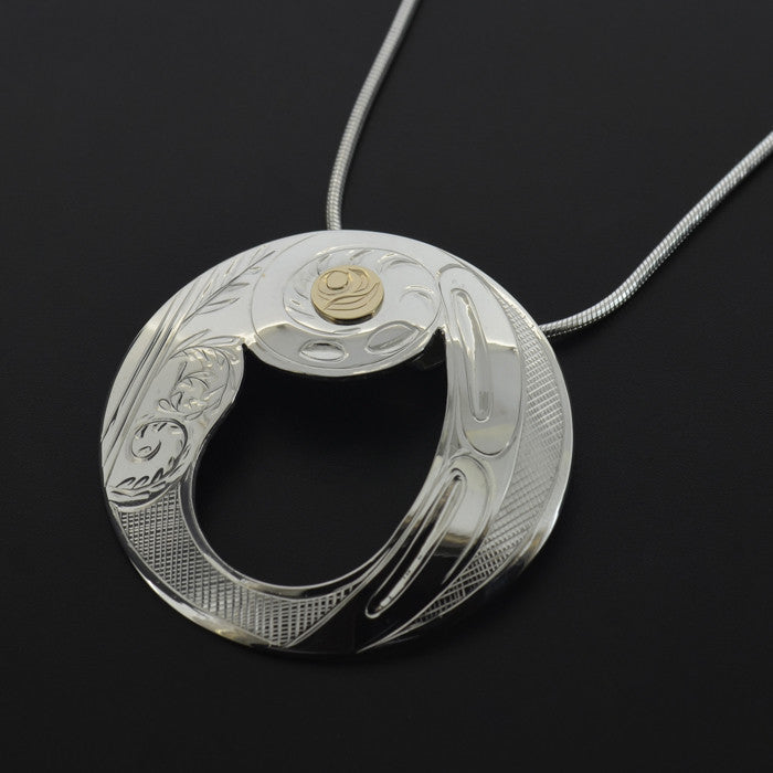 Fiddlehead Fern - Silver Pendant with 14k Gold