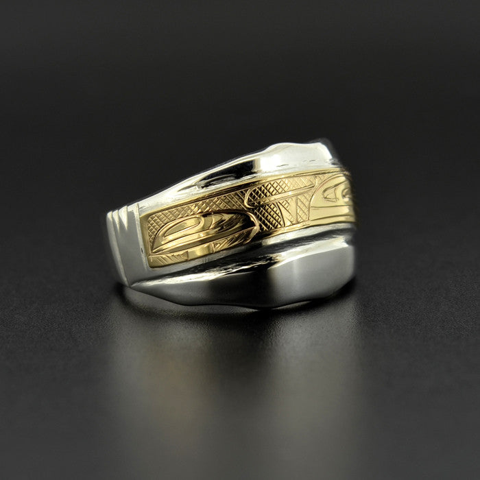 Layers of Sediment - Silver Ring with 14k Gold