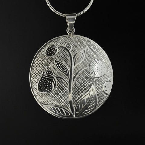 Wild Strawberries and Ladybugs - Silver Pendant