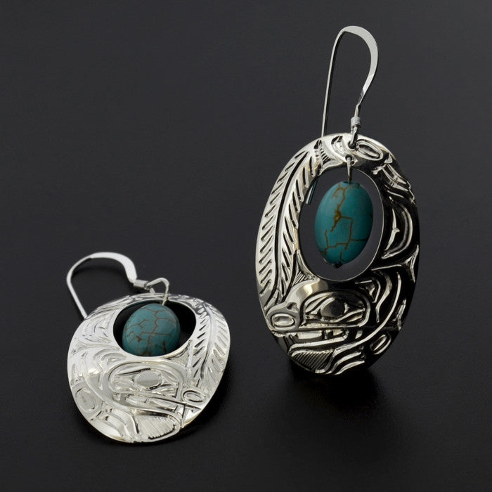 Squirrel - Silver Earrings with Turquoise