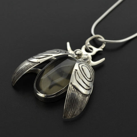 Beetle - Silver Pendant with Grey Moonstone