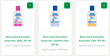 Review how EWG rates Blue Lizard Australian Sunscreen