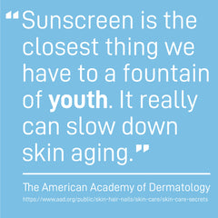 Sunscreen is the closest thing we have to a fountain of youth. It really can slow down aging- The American Academy of Dermatology