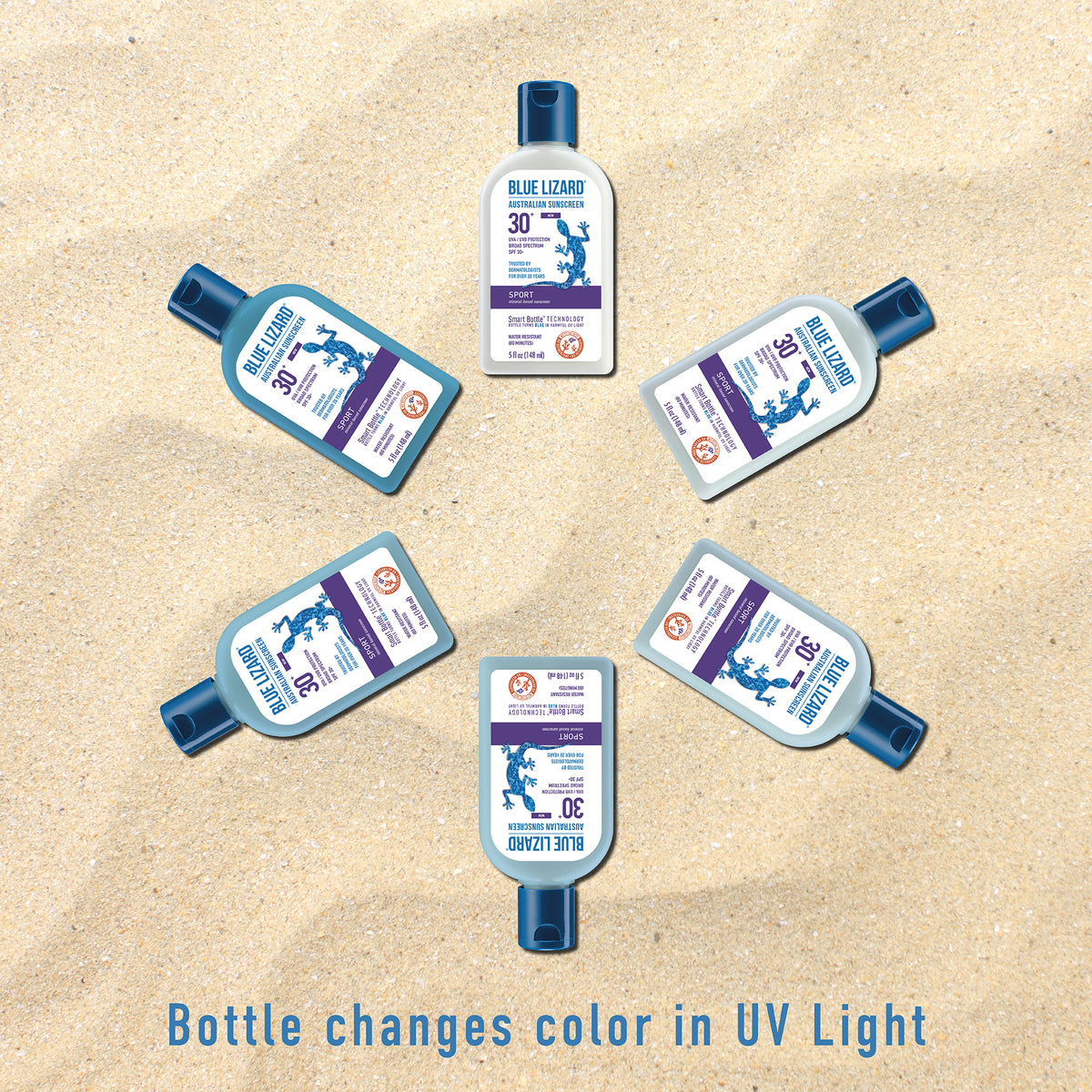 Bottle changes color in UV light