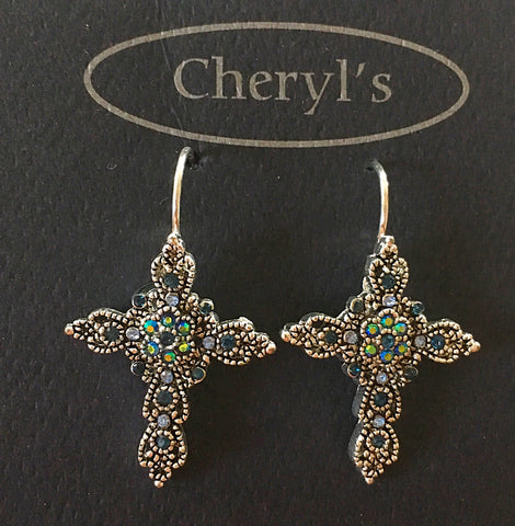 Clasp Hook Rhinestone Cross Earrings