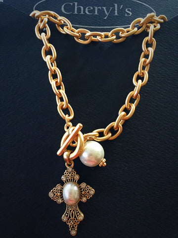 Gold Pearl Cross Toggle Necklace