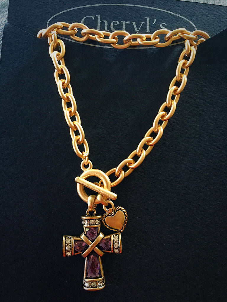 Purple Cross & Heart Toggle Necklace