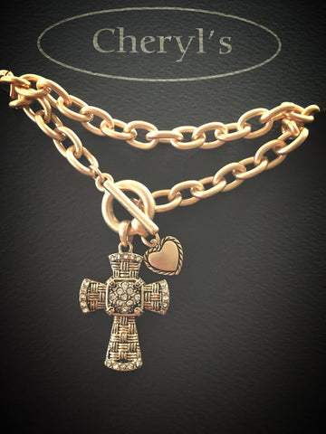 Gold Toggle Cross Necklace