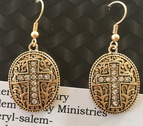 Hook Gold Cross Earrings