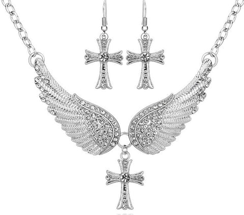 Cross angel wing necklace set