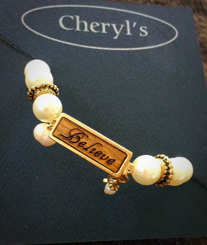 """Believe"" Pearl Stretch Bracelet"