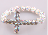 Iridescent Stretch Cross Bracelet
