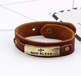 "Handmade Leather ""God Bless"" Bracelet"