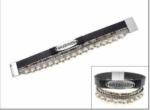 """Walk By Faith"" Magnetic Bracelet Set Black - OO"