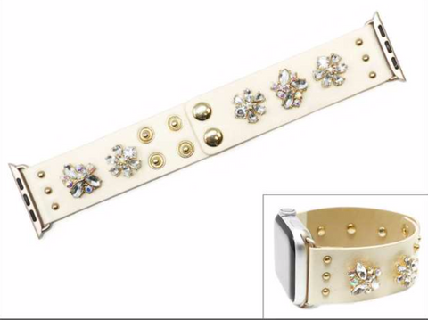 Cream Crystal Apple Watch Band