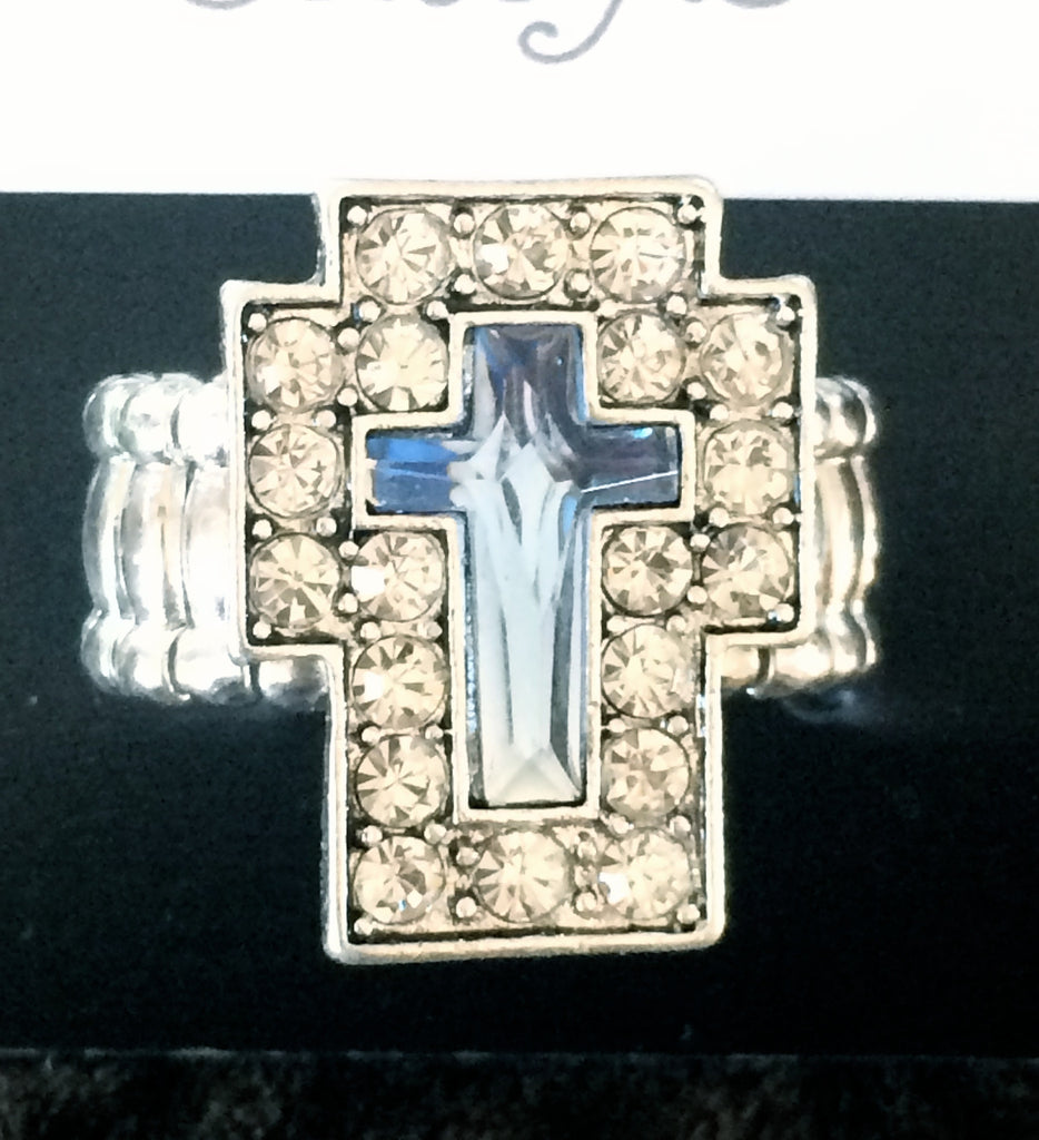 Blue & Silver Stretch Cross Ring