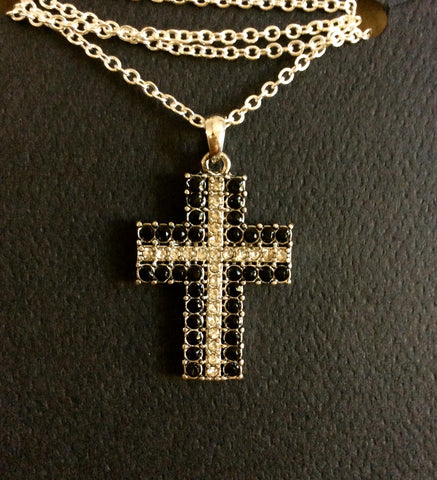 Black & Silver Cross Necklace