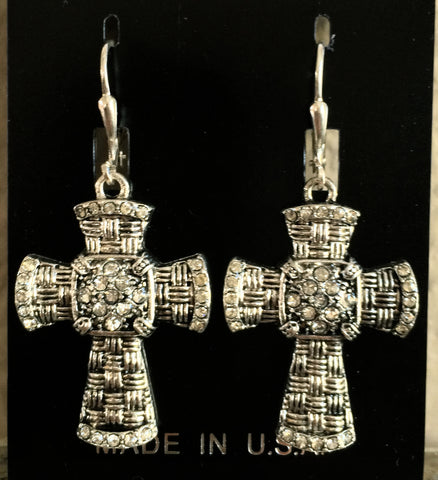 All Silver Cross Earrings