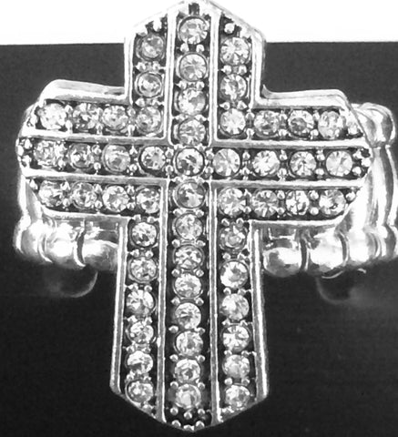 Stretch Silver Cross Ring