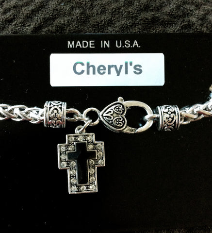 Black & Silver Cross Bracelet