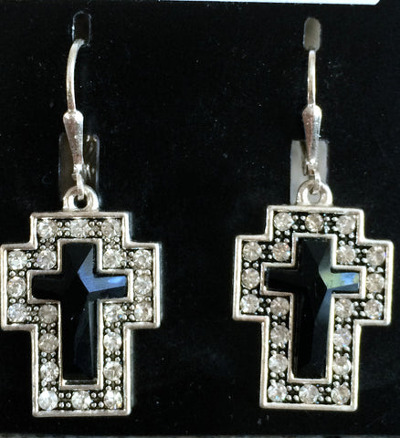 Black & Silver Cross Earrings
