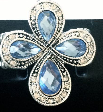 Blue Stretch Cross Ring