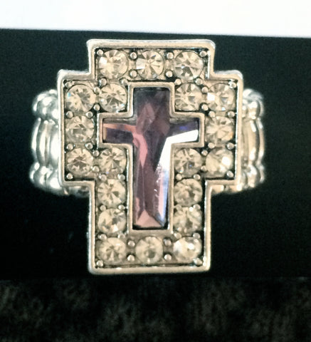 Silver & Purple Stretch Cross Ring