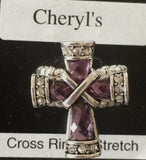 Purple Stretch Cross Ring