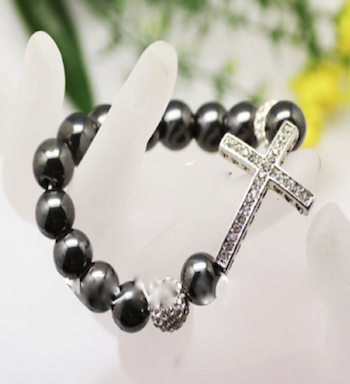 Black Hematite Cross Bracelet
